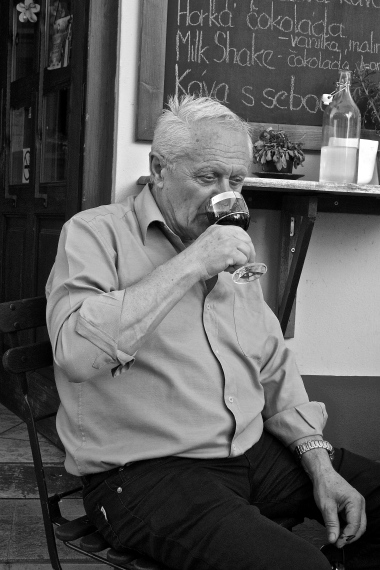 I mean, he was sitting at a cafe outside, sipping wine... I couldn't not take his portrait -- Cesky Krumlov, Czech Republic